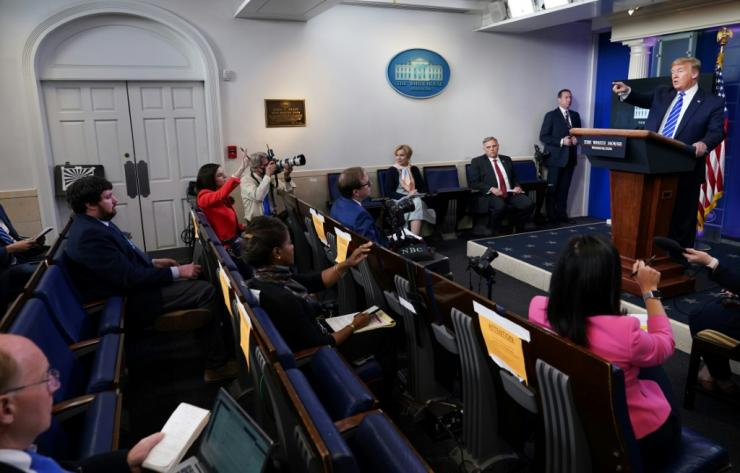 President Donald Trump speaks on April 23, 2020 during the daily coronvirus task force press briefing in which he suggested injecting disinfectant could help fight coronavirus