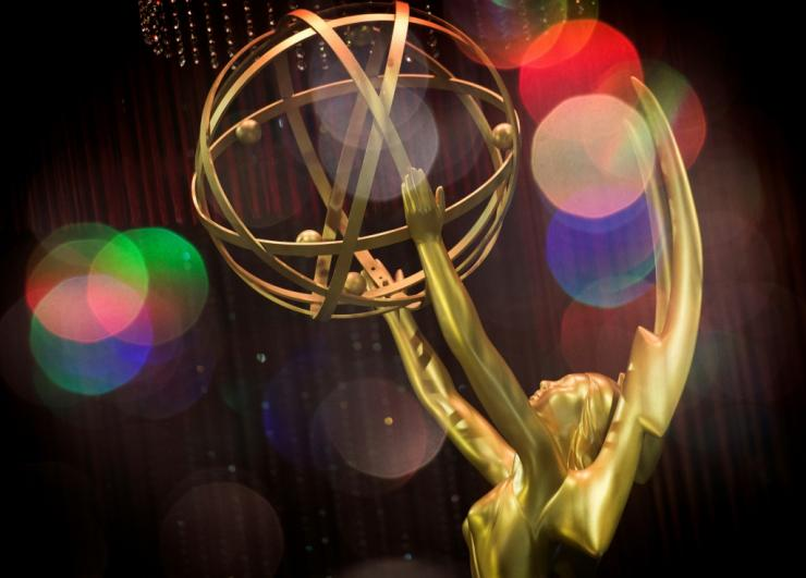 (FILES) This file double exposure photo taken on September 12, 2019 shows the Emmy Awards statue during the 71st Emmy Awards Governors Ball press preview in Los Angeles, California.