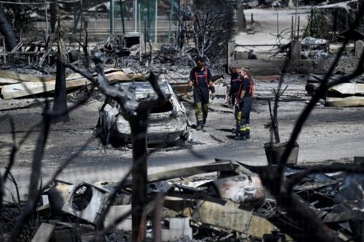 Camp sites were reduced to ashes