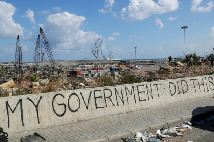 Graffiti on a bridge overlooking the port of Beirut, the site of the explosion which devastated swathes of the capital