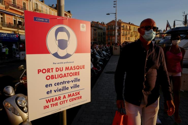 It is now mandatory to wear a face mask in the ritzy Riviera town of Saint-Tropez