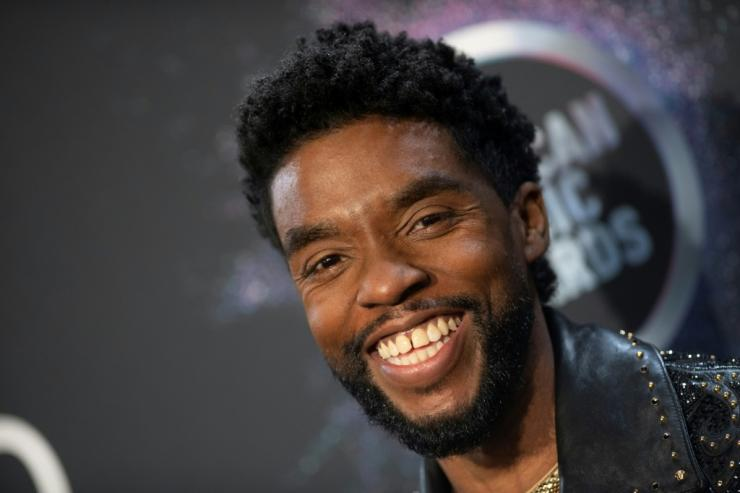 "Late US actor Chadwick Boseman, star of ""Black Panther,"" poses during the 2019 American Music Awards"