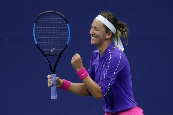 Victoria Azarenka celebrates during her quarter-finals win against Elise Mertens at the 2020 US Open