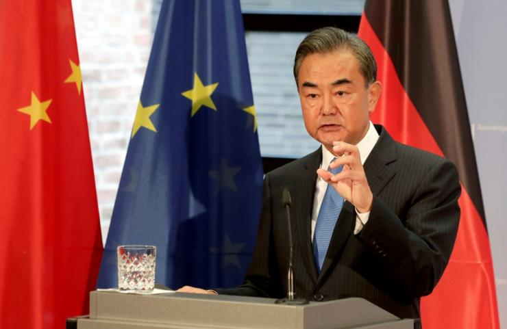 Chinese Foreign Minister Wang Yi (pictured in Berlin) has been touring European capitals over the summer seeking to drum up support in Beijing's spat with Washington