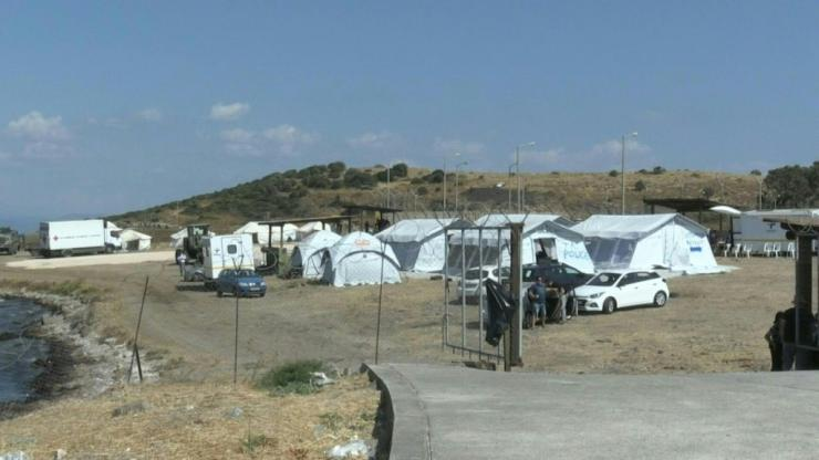 A new camp is set up after the Moria fire