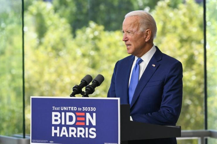 Democratic presidential nominee and former Vice President Joe Biden speaks at the National Constitution Center in Philadelphia, Pennsylvania to make a statement on nominating the replacement of late Supreme Court Justice Ruth Bader Ginsburg