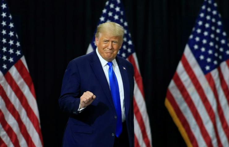 US President Donald Trump arrives at an event in Charlotte, North Carolina on September 24; his choice two days later to fill a Supreme Court vacancy is expected to be central in the November 3 presidential election