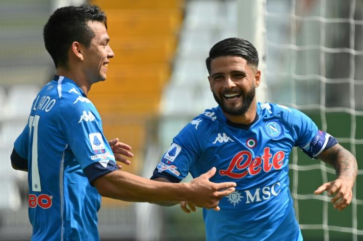 Napoli forward Hirving Lozano (L) scored twice but Lorenzo Insigne (R) went off injured.