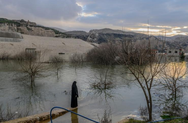 The flooding of the area for the Ilisu Dam project has erased the original town Hasankeyf that stood here for 12,000 years