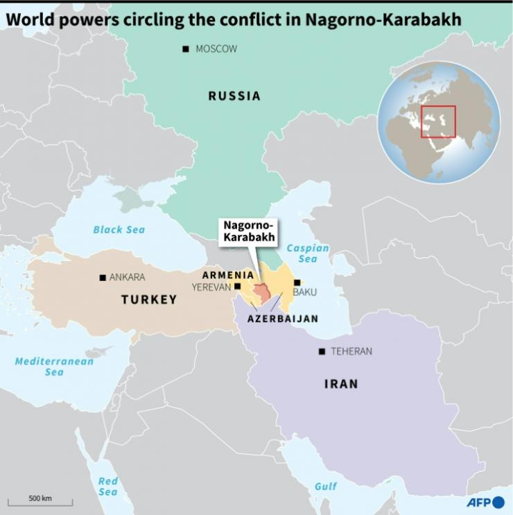 Map of the Caucasus and surrounding region showing the world powers circling Nagorno-Karabakh