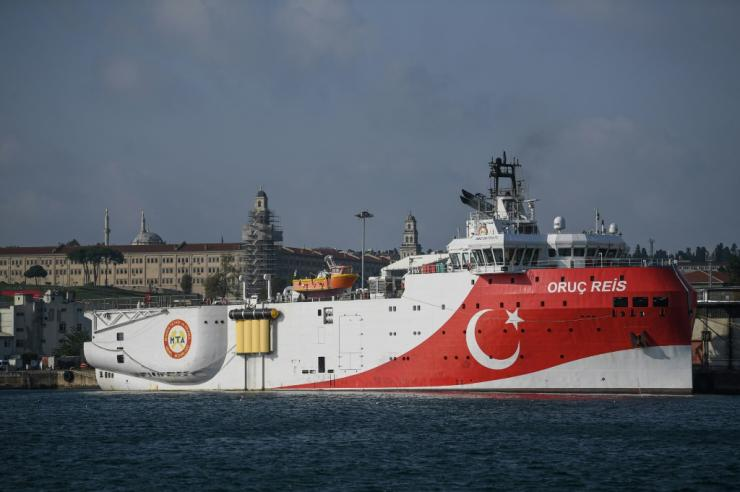 Turkey has angered Greece by sending back to contested waters the Oruc Reis seismic research vessel, seen here docked in 2019 in Istanbul