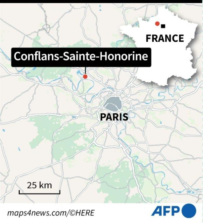 The attack took place in Conflans Saint-Honorine, a northwestern suburb around 30 kilometres from central Paris