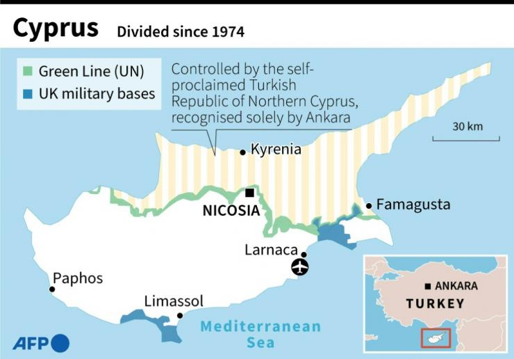 Map of divided Cyprus
