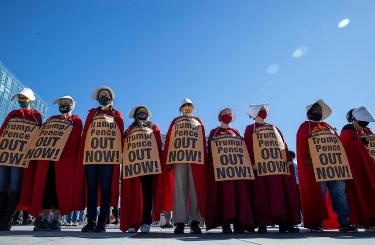 "Some protesters came to the march in Washington dressed as characters from the dystopian novel and television series ""The Handmaid's Tale,"" who are forced to bear children"