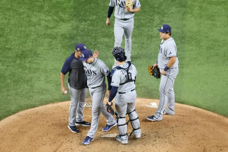 Turning point: Red-hot pitcher Blake Snell is taken out of the game by Tampa Bay Rays manager Kevin Cash in the sixth inning of the Los Angeles Dodgers World Series-clinching victory