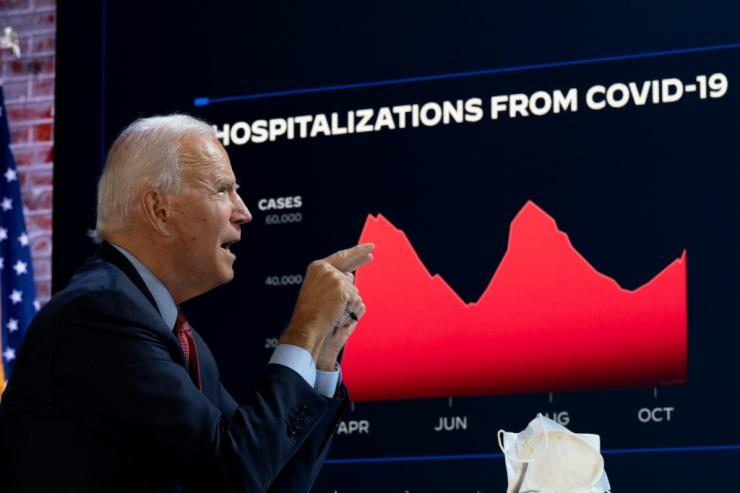 Democratic White House candidate Joe Biden attended a coronavirus briefing instead of hitting the campaign trail six days before the US presidential election on November 3, 2020, a race that polls show him leading over President Donald Trump