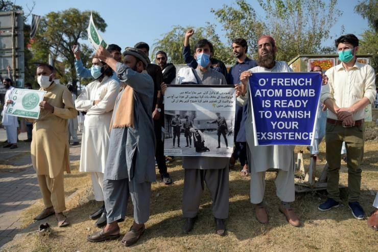 Around 2,000 people in Islamabad marched towards the French embassy
