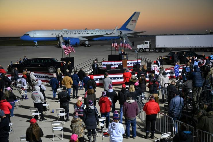 US President Donald Trump and his White House rival Joe Biden each gathered supporters in Minnesota on October 30, 2020, just four days before the election.