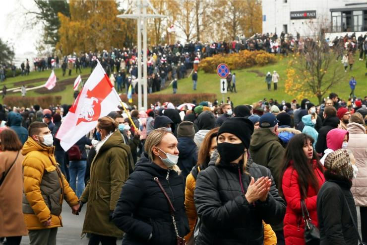 The Belarus opposition gathers for their latest large-scale Sunday protests that have lasted for three months now. Smaller rallies have also been organised by professional groups such as teachers, students and medics.