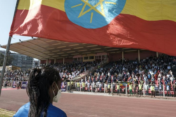 A crowd stands to sing the Ethiopian national anthem during a blood donation rally in Addis Ababa