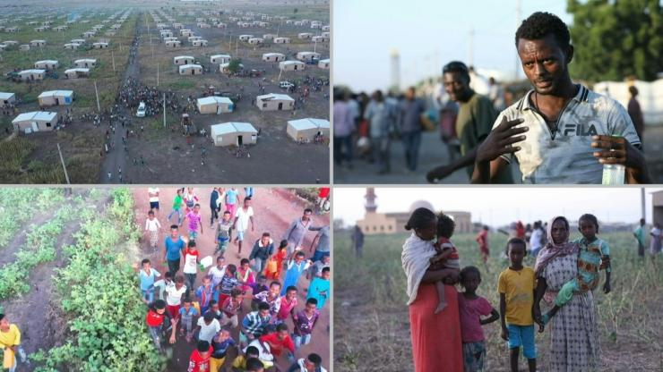 Ethiopians cross the border into Sudan after fleeing military violence in the Tigray region.