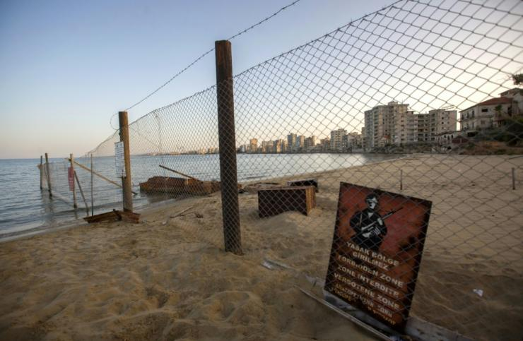 The deserted tourist area of Varosha in the fenced off area of Famagusta in the Turkish-occupied north of the divided eastern Mediterranean island of Cyprus