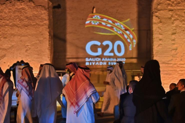 The G20 logo is projected at the historical site of al-Tarif on the outskirts of the Saudi capital Riyadh