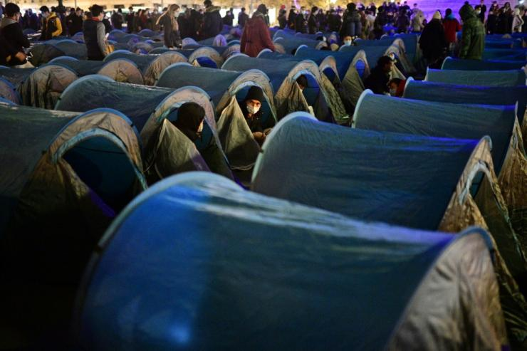 The tents were set up to protest at the destruction of other migrant camps