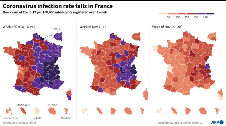 Maps showing Covid-19 infection rate per French department over the past 3 weeks