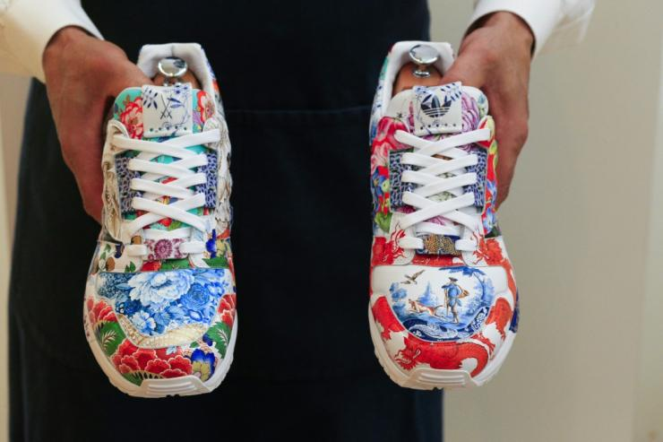 A unique pair of sneakers designed by Adidas and Meissen is up for auction at Sotheby's in New York