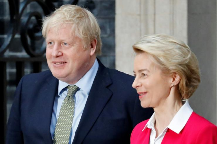 Britain's Prime Minister Boris Johnson and European Commission President Ursula von der Leyen at a pre-pandemic meeting in London in January. At the time the EU's top official correctly predicted 'tough talks' over their future relations