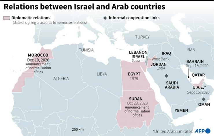 Map of countries with diplomatic relations or informal cooperation links with Israel