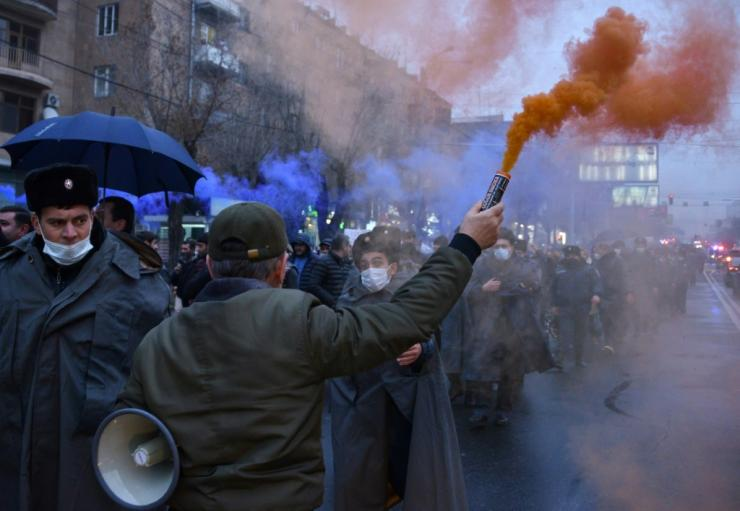 Protesters have taken to the streets in Armenia demanding the premier's resignation over the peace deal