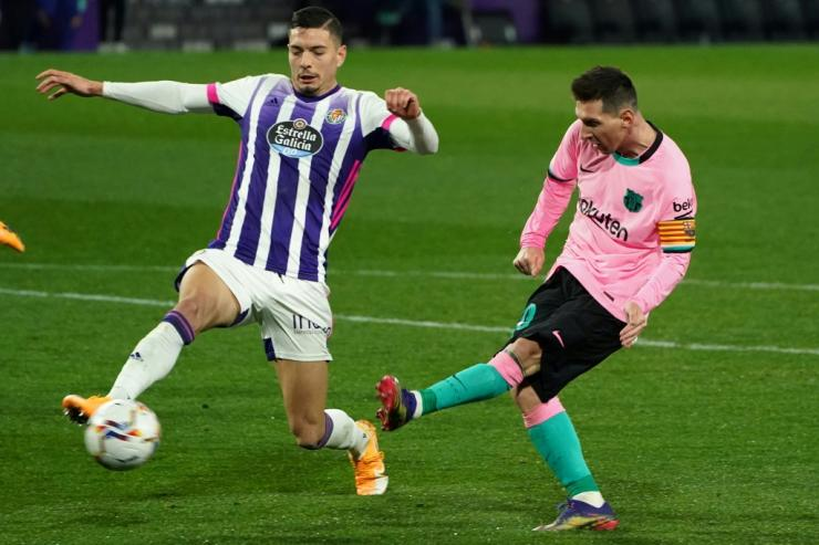 Lionel Messi scoring his record-breaking 644th goal for Barcelona