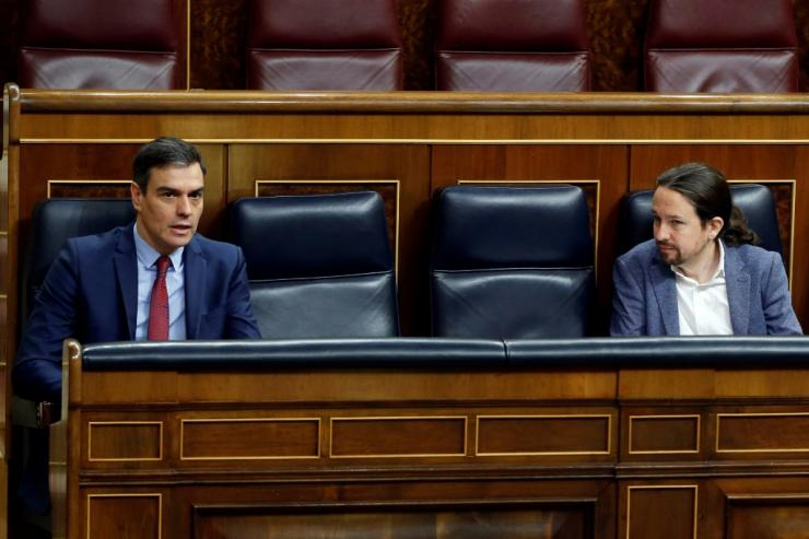 Pedro Sanchez (L) came to power in June 2018 but was forced to call fresh elections early the following year
