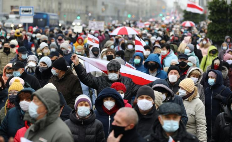 Belarus pensioners rally in November 2020 in Minsk against the widely contested results of the election