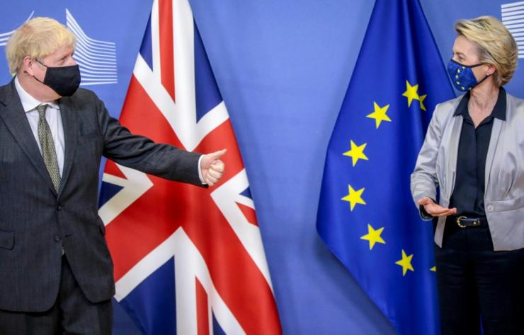 Britain's Prime Minister Boris Johnson with European Commission President Ursula von der Leyen