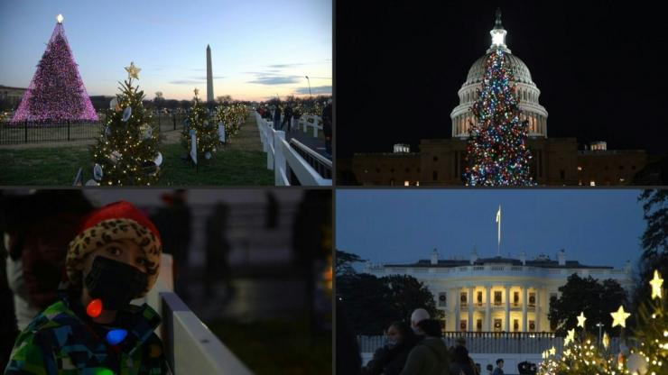 Christmas trees compete for attention outside the White House and the Capitol in Washington