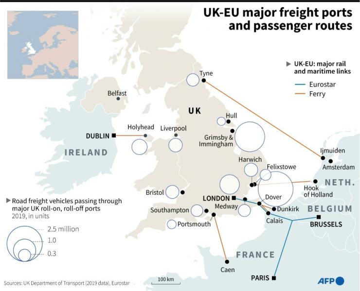 Number of goods vehicles travelling from UK to EU ports per year and major maritime and passenger routes.
