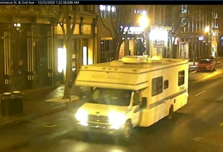 In this photo from the Twitter page of the Metro Nashville Police Department, a motorhome that later exploded in Nashville, Tennessee on December 25, 2020, is seen driving down a street
