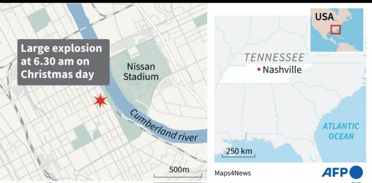 Map of the US state of Tennessee locating Nashville, hit by an explosion Friday.