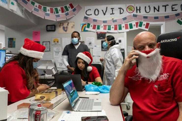 With high numbers of coronavirus cases, staff in one Texas intensive care unit celebrated Christmas at work