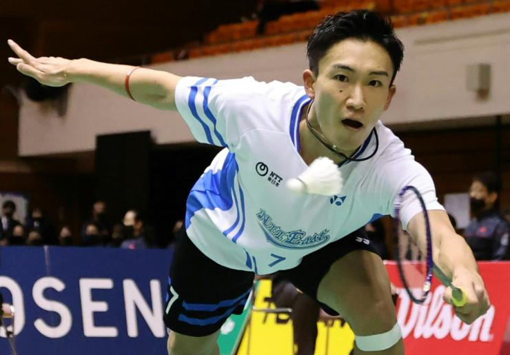 Badminton world number one Kento Momota (pictured competing in the singles semi-final on December 26, 2020) won the All-Japan championships nearly a year after suffering serious injuries in a car crash