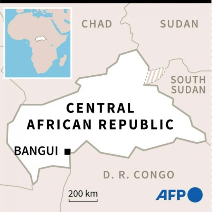 Map of Central African Republic and its capital Bangui