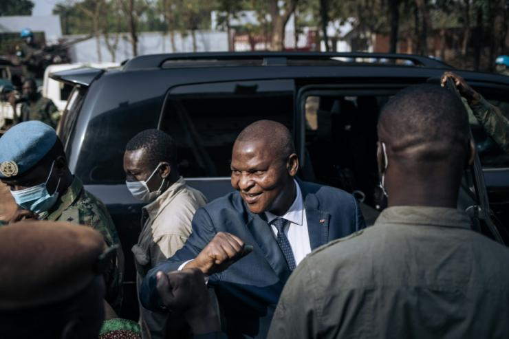 President Faustin Archange Touadera, pictured at a polling station in Bangui on Sunday, is the frontrunner