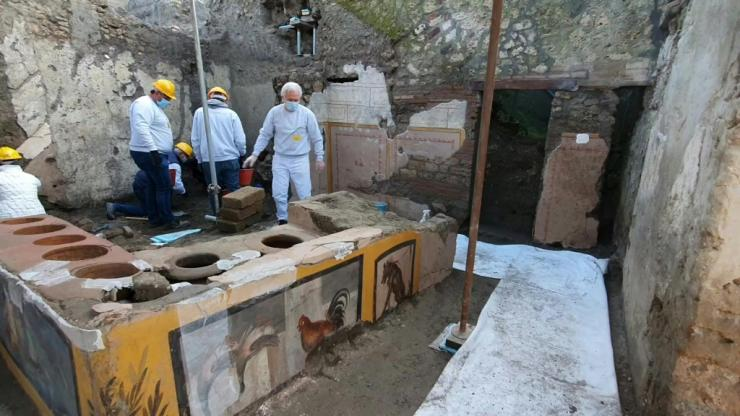 Researchers discovered the thermopolium -- the ancestor of the street fast-food in Ancient Rome -- in Pompeii, decorated with polychrome patterns and in an exceptional state of preservation