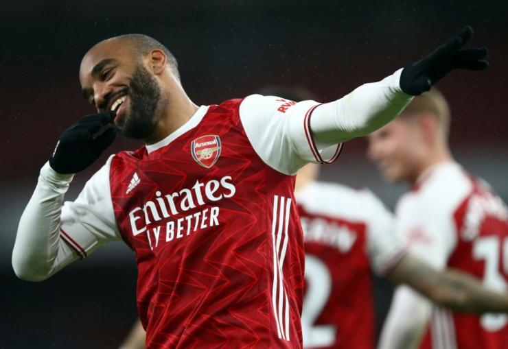 Smiling again: Alexandre Lacazette scored Arsenal's opening goal in a 3-1 win over Chelsea