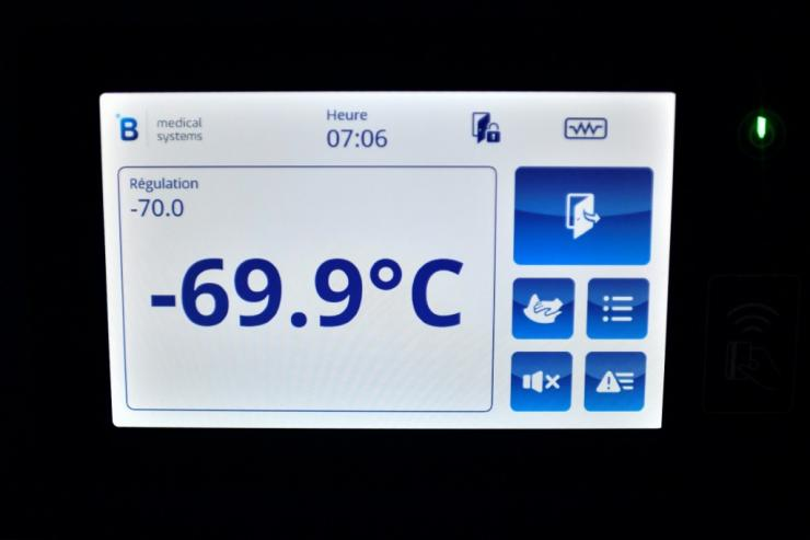 This is the temperature on the freezer where the first shipment of Pfizer-BioNTech Covid-19 vaccines were kept at the AP-HP central pharmacy outside Paris