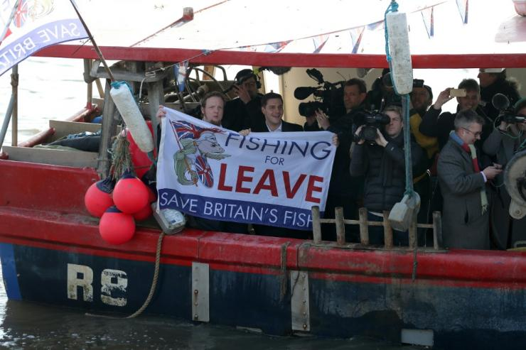 "Fishing for Leave"" protest under the Houses of Parliament on the Thames in March 2018"