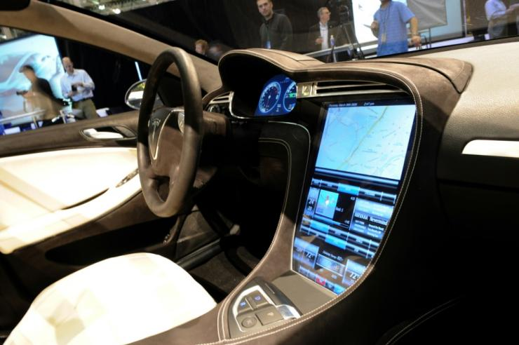 The touchscreen control panel of the Tesla Model S electric sedan is seen at the car's unveiling in Hawthorne, California in March 2009